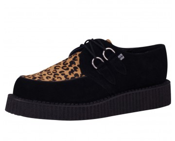 TUK -CREEPER BLACK SUEDE & LEOPARD COWHAIR LOW SOLE